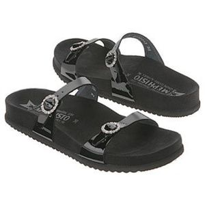 Mephisto Shoes - Mephisto Sydel Black Sandals w/ Rhinestone Buckle
